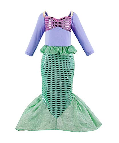 Suyye Girls Princess Mermaid Costume Sequin Ariel Dress Up (Purple Green, 5-6 Years) -