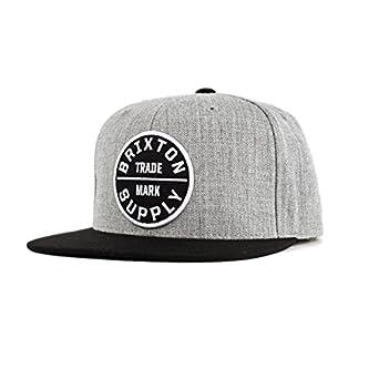 4eb4d77d5e Brixton Mfg Co. Men s Oath 3 Snapback Hat Cap Light Heather Grey Black   Amazon.co.uk  Clothing