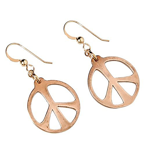 Cast Gold Dangle Pendant Wire (Medium Peace Symbol Peace Bronze Earrings on French Hooks)