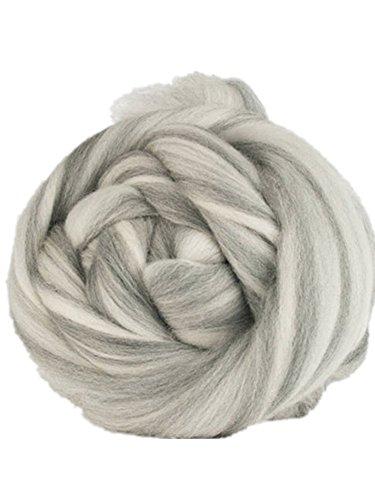 Chunky Yarn,Multicolor Wool Yarn, DIY Knitting, Bulky Yarn, Giant Yarn, Soft Blanket Rug Scarf Big Yarn (Grey-White, 1kg-2.2lbs-57yards)