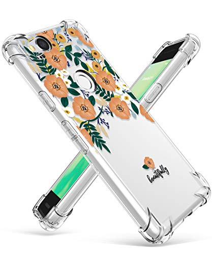 GVIEWIN Compatible for Google Pixel 2 Case, Flower Pattern Design with Shockproof Corner, Ultra Slim TPU Bumper Protective Cover Case(Floral Leaves/Champagne Gold)