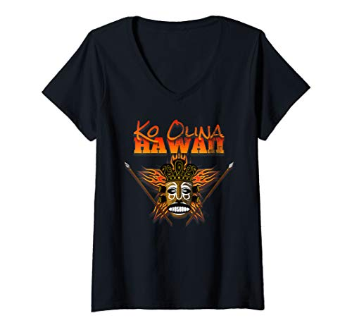 Womens Hawaiian Shirt Ko Olina Oahu Hawaii Native Mask Tiki V-Neck T-Shirt ()