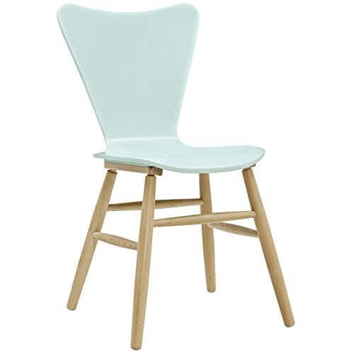 Side Cascade - Modway EEI-2672-LBU Cascade Mid-Century Modern Wood Dining Side Chair, Light Blue