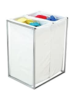 The Bag Stand 2710 CHRCotton Steel-Framed Chrome Hamper with Removable Cotton Laundry Bags, Double by The Bag Stand