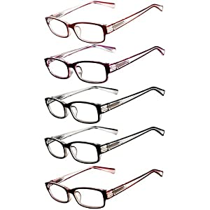 Readers 5 Pack of Men Women Reading Glasses Deluxe Spring Hinge Stylish Look 180 Days Guarantee +4