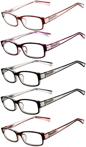 Readers 5 Pack of Men Women Reading Glasses Deluxe Spring or Fix Hinge Stylish Look 180 Days Guarantee - With Readers Sunglasses Inexpensive