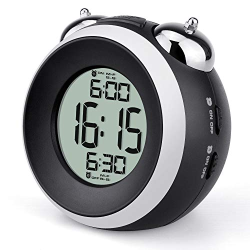 Loud Alarm Clock for Heavy Sleepers Battery Operated - Dual Alarm Clock with Optional Weekday, Backlight,Snooze,Simple Twin Bell Alarm Clocks