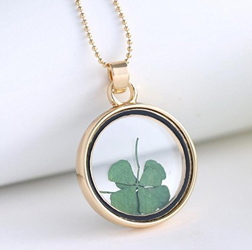 SAYLAVE Flowers Lucky Women Necklace Round Glass Locket Pendant Necklace Gold