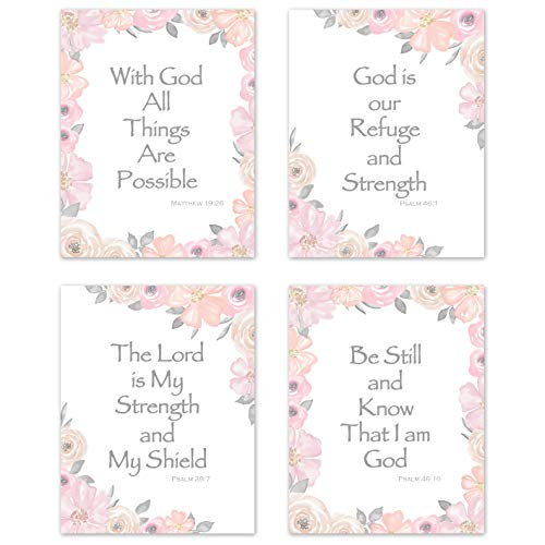 KB & Me Bible Verse Wall Art Inspirational Quotes Religious Christian Scripture Sayings Psalm Home Decor Prints - Set of 4 Pink and Grey Floral 8 x 10 inches ()
