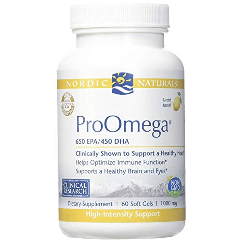 - Nordic Naturals ProOmega - Fish Oil, 650 mg EPA, 450 mg DHA, High-Intensity Support for Cardiovascular, Neurological, Eye, Joint, and Immune Health*, Lemon Flavored, 60 Soft Gels