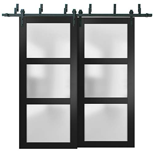Sliding Closet Frosted Glass Barn Bypass Doors 84 x 96 inches | Lucia 2552 Matte Black | Sturdy Top Mount 8ft Rails…