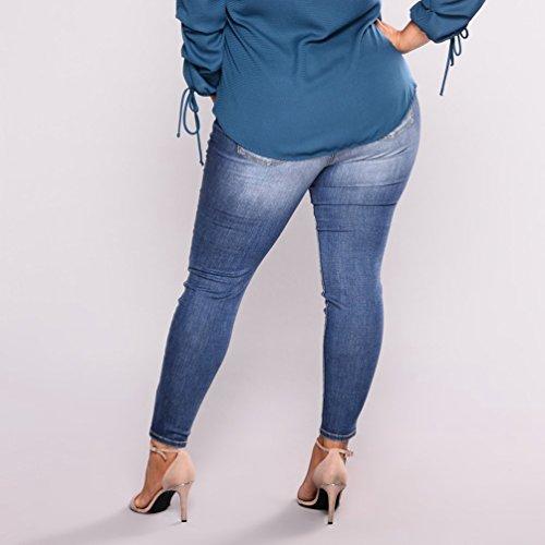 Pantaloni Blu Vita A Grandi Profondo Yuncai Dimensioni Strappati Donna Alta Jeans In Casuale Denim Elastico 68E5EwqP