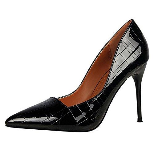 AalarDom Damen Stiletto Rein Ziehen Auf Weiches Material Pumps Schuhe Schwarz