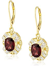 18k Yellow Gold Plated Sterling Silver Genuine Garnet and Diamond Accent Leverback Dangle Earrings