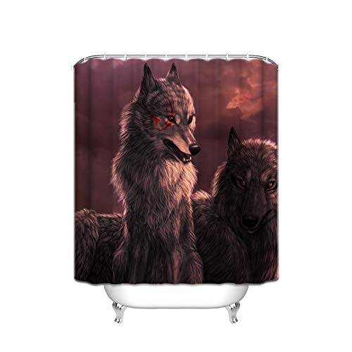 ALDECOR Wolf Wallpaper Shower Curtains, Polyester Fabric Waterproof Shower Curtain, Bathroom Accessory Sets, Hooks Included, 60-Inch-by-72-Inch]()