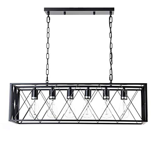ISRAMP Kitchen Island Lighting Fixtures, 6-Light Rectangle Iron Matte Black Shade Industrial Pendant Light Rustic Farmhouse Chandelier ()