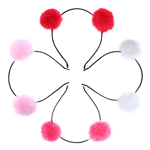 (Frcolor Fuzzy Pom Pom Ball Hair Hoop Cat Ear Headband for Kids Girls 4pcs (Pink + Red + Watermelon Red + White))