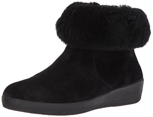 FitFlop Women's Skatebootie Suede Shearling Ankle Boot, Black, 5 M US