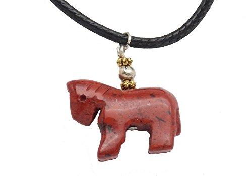 Hand Red Agate Carving (Fundamental Rockhound: Carved Red Jasper Horse Necklace Pendant on 16