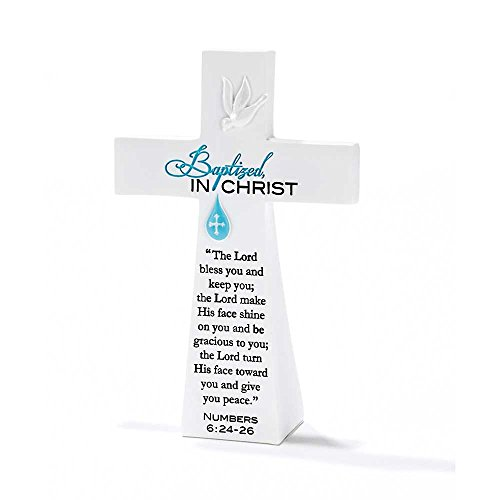 Dicksons Blue Baptized in Christ Numbers 6:24-26 White Resin Stone Table Top Cross