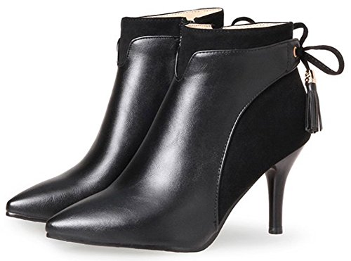 IDIFU Womens Sexy Pointed Toe Side Zipper High Stiletto Heeled Short Ankle High Booties Black dDPdq