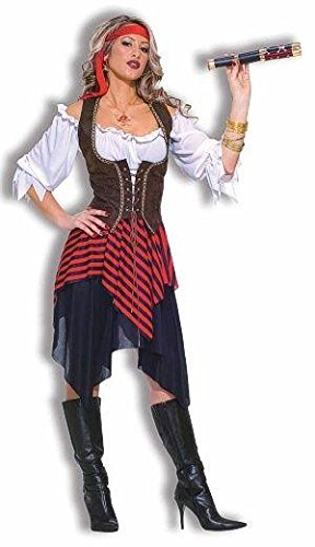 [Forum Novelties Women's Sweet Buccaneer Pirate Costume, Black/Red, Standard] (Costumes Pirate Woman)
