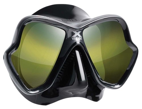 Mares X-Vision Ultra Liquid Skin Dive Mask, Black/Gold Mirrored Lens