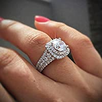 MAIHAO New Princess Square Simulation Diamond Ring Double-Layer Super-Flash Zircon Ring in 925 Sterling Silve Cubic Zirconia Promise Halo Engagement Wedding Band Ring for Women Size 6-10 (Size 8)