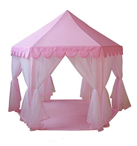 Sunba Youth Kids Play Tent, Super Fantasy Pink Princess Castle Playhouse Canopy Tent with LED Light for Children Indoor and (Play Canopy)