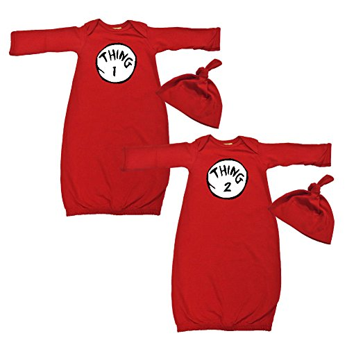 [We Match! Baby Adorable Thing 1 & 2 Twins Layette Gown & Cap Set Super Soft Baby Outfits (Red)] (Thing 1 Thing 2 Halloween Costumes)