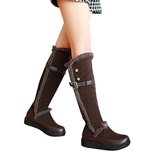 Impermeabile 5 Fibbia Sneakers Vintage Donna Donna Retro Spesso Tacco  Stivale Da Con Marrone Neve Stivaletti 3 Cm Scarpe Stivali Honestyi ... e59fef9b327