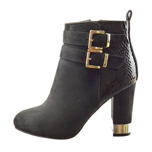Sopily - Zapatillas de Moda Botines bimaterial A medio muslo mujer piel de serpiente Hebilla metálico Talón Tacón ancho alto 9.5 CM - Negro