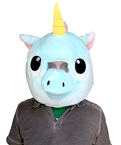 CLEVER IDIOTS INC Animal Head Mask - Plush Costume for Halloween Parties & Cosplay (Unicorn)]()