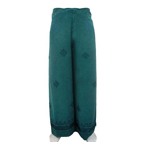 Pantalones Pescador Teñido Anudado Del Harem Pant Pant Pantalones Wrap Ajustable Pantalones Teal verde