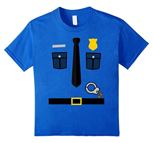 [Kids Police Uniform - Boys and Girls Halloween Costume T-Shirt 10 Royal Blue] (Cop Costumes Tshirt)
