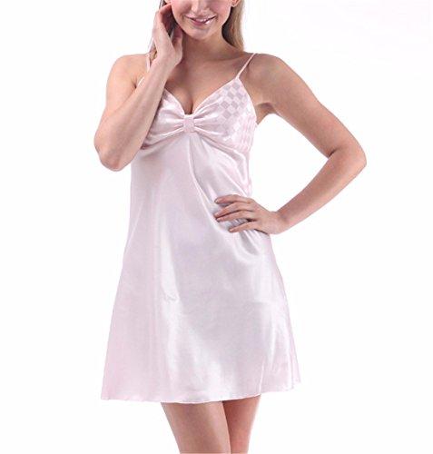 Yall Señora Imitación Seda Pijama Sección Sencilla Verano White