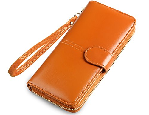 Wallet Genuine Leather Ladies Clutch Card Organizer Travel Purse Large Capacity Wallets for Women Color Yellow With Wristlet 97 ()