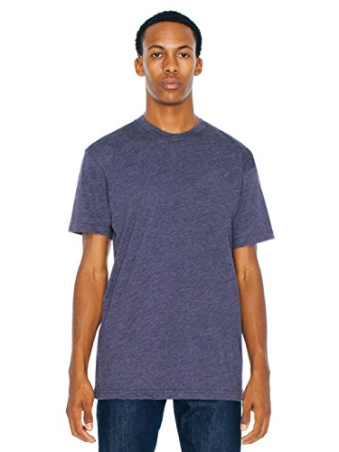 American Apparel Poly-Cotton Short Sleeve Crew Neck - Heather Imperial Purple / S