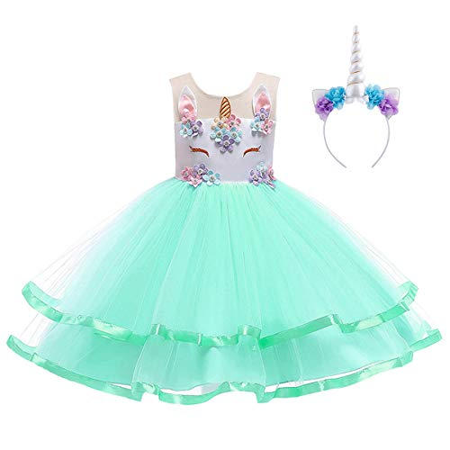 - Rainbow Unicorn Girls Fancy Dress Fairy Tale Book Day Animal Kids Childs Costume Tutu Dress Green with Headband 7-8 Years