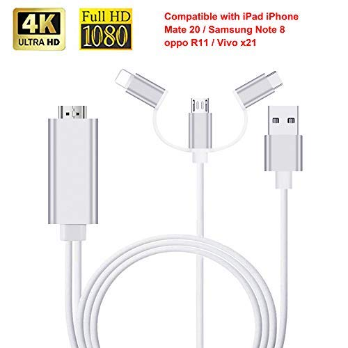 (3 in 1 HDMI Cable Adapter, ZAMO 1080P USB/Type-C to HDMI Adapter Mirror Mobile Phone Screen to TV/Projector/Monitor Compatible with S8/9 Note 8/9 and More Android Devices)