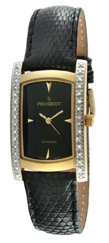 - Peugeot Women's 1733G Genuine Lizard Skin 1/2 ct Diamond Accented Limited Edition Swiss Watch