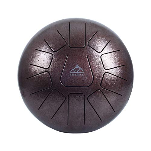 EastRock Steel Tongue Drum, 11 Notes 10 Inch Pan Drum Percussion Steel Drum Instrument with Mallets, Mallet Bracket,Tonic Sticker, Music Book and Travel Bag (Coffee Color)