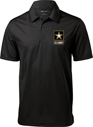 Buy Cool Shirts Mens US Army Pocket Print Textured Polo, Black, -