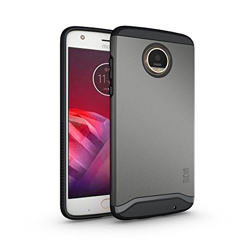 TUDIA Moto Z2 Play Case, Slim-Fit Heavy Duty [Merge] Extreme Protection/Rugged but Slim Dual Layer Case for Motorola Moto Z2 Play (Metallic Slate)