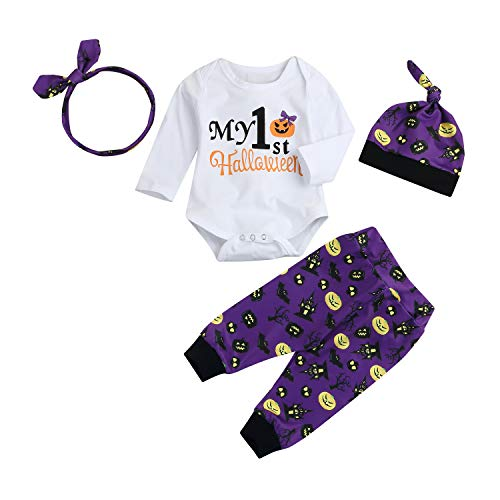 Infant Boys Girls Outfit My First Halloween Pants Set Cartoon Bat Printed Romper+Pans+Head Band+Hat Clothes Suit 4Pcs (Purple, 3-6 Months) ()