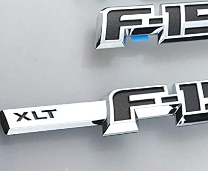 3pcs F-150 XLT Emblems EmbRoom Chrome 3D Drivers Side Rear Tailgate 12 inch Emblem Sticker Decal Replacement for Ford F150