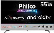 "Smart TV PHILCO 55"" TV PTV55Q20AGBLS 4K LED, UHD, borda infinita, comando d"