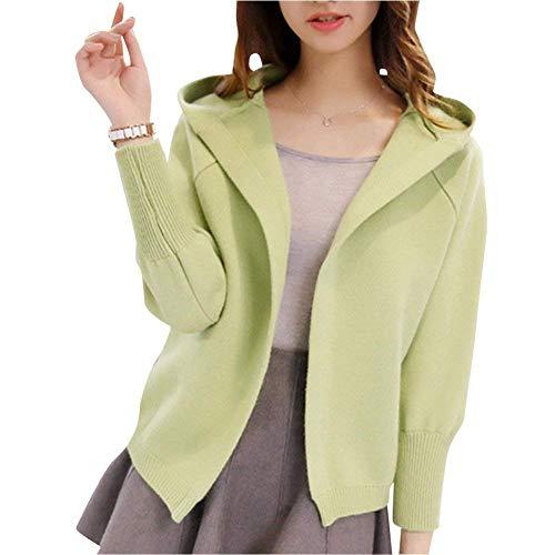 Fashion Di Grün Alta Lunghe Giacche Coat Qualità Mode Casual Colore Pullover Outwear A Giacca Donna Autunno Marca Elegante Maglia Maniche Leggero Bolawoo Puro Incappucciato xY6vgwqy