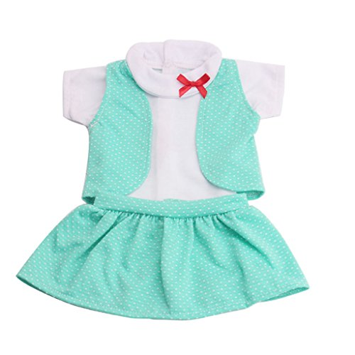 MagiDeal 3 Pieces Casual Clothes Set for 18'' American Girl Our Generation Doll - White Short T-shirt & Green Vest & Mini Skirt