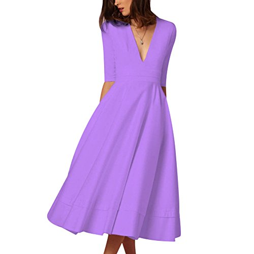 1 Purple Evening Swing Solid Long Neck Deep Pleated V Party Women Light Sleeve Elegant Cutecc Sexy Dress 2 qSPBYxOqTw